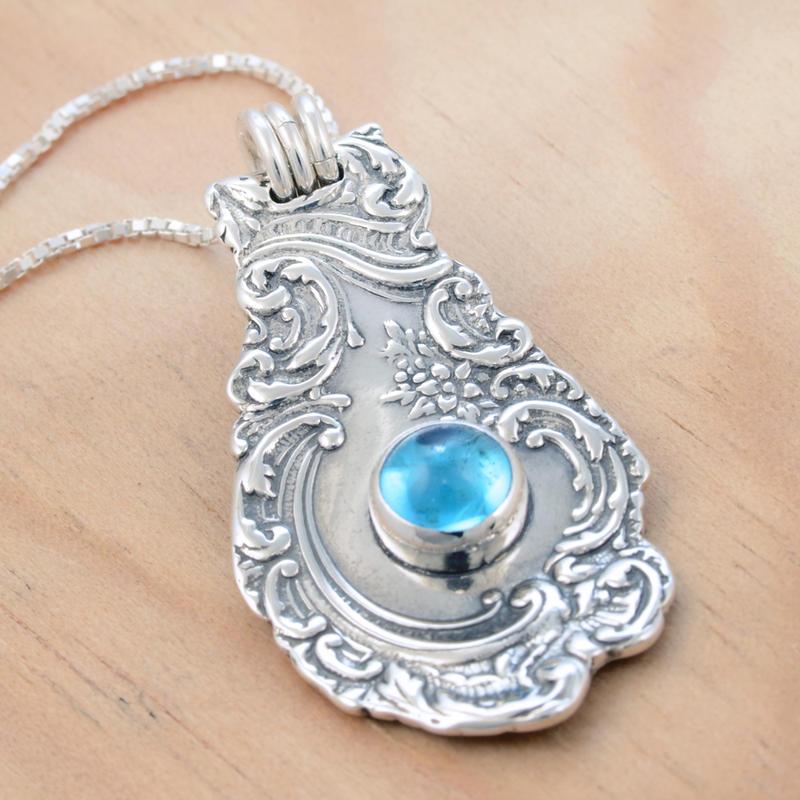 Spoon Pendant w Blue Topaz 3 by metalsmitten