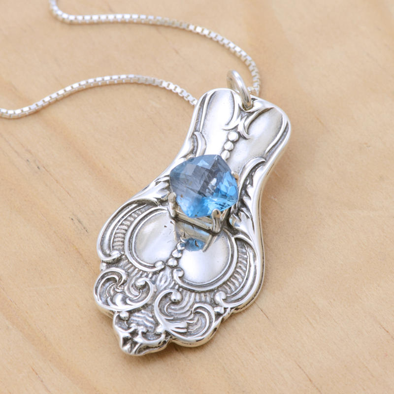 Spoon Pendant w Cushion-Cut Blue Topaz by metalsmitten
