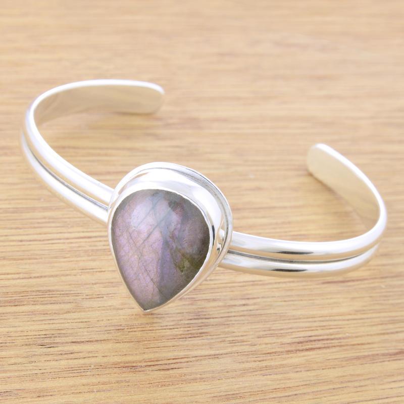 Lavender Labradorite Cuff Bracelet by metalsmitten
