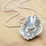 Spoon Pendant with Rose Cut Moonstone