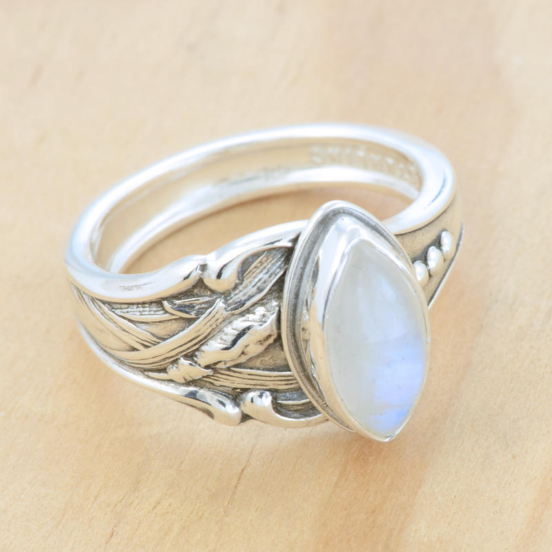 Spoon Ring w Marquise Moonstone by metalsmitten
