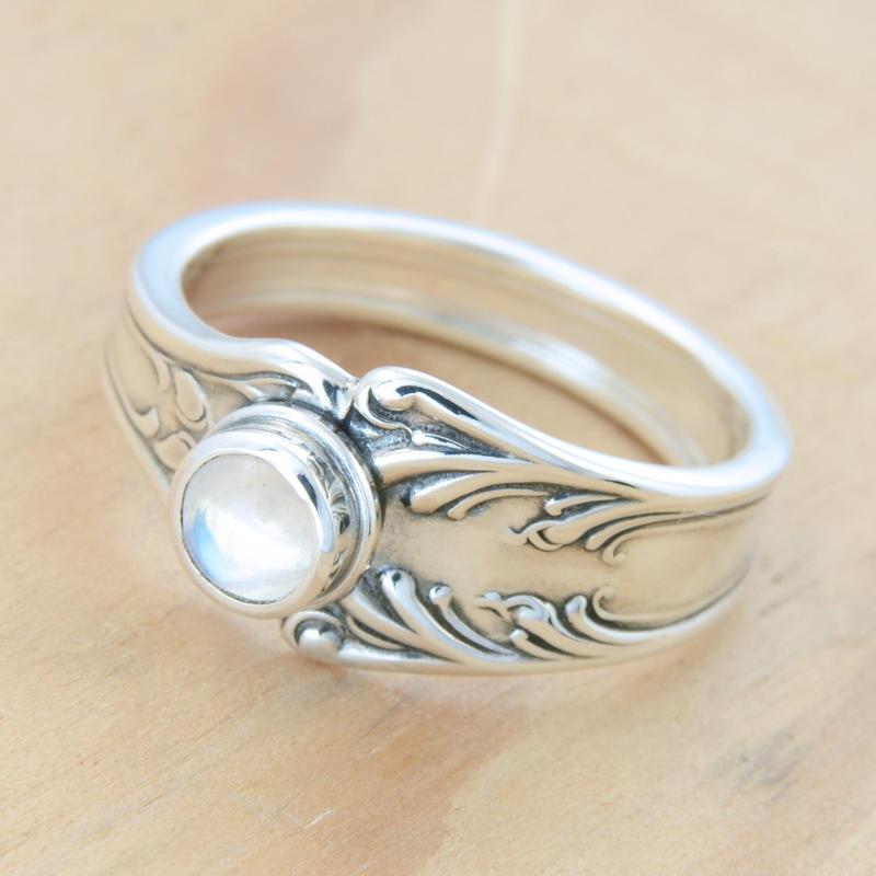 Spoon Ring w Wee Moonstone by metalsmitten