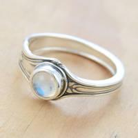 Spoon Ring w Little Moonstone by metalsmitten