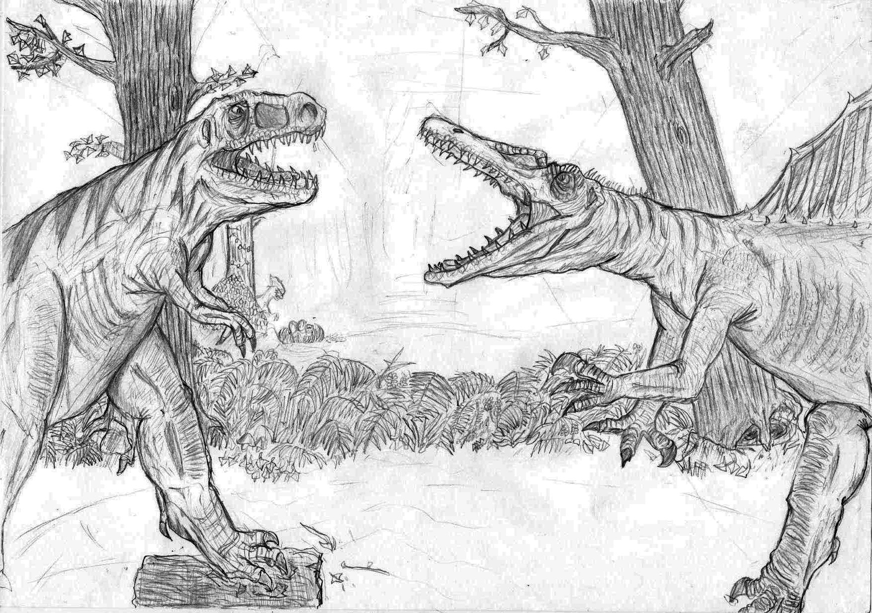 spinosaurus vs t rex by kizzenkun on deviantart