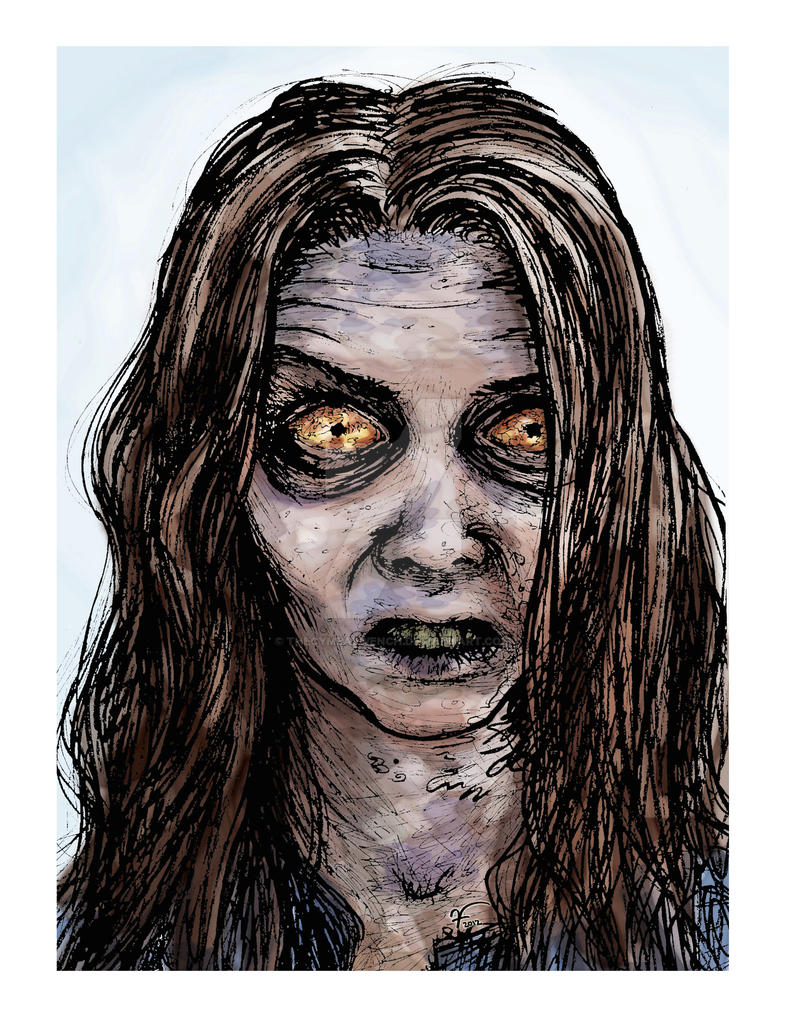 The Walking Dead big-eyed zombie self-portrait by thecymbalwench
