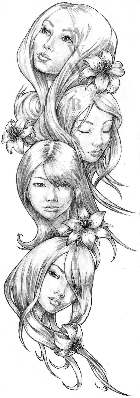 Girl Faces Full Sleeve Design by angotti81