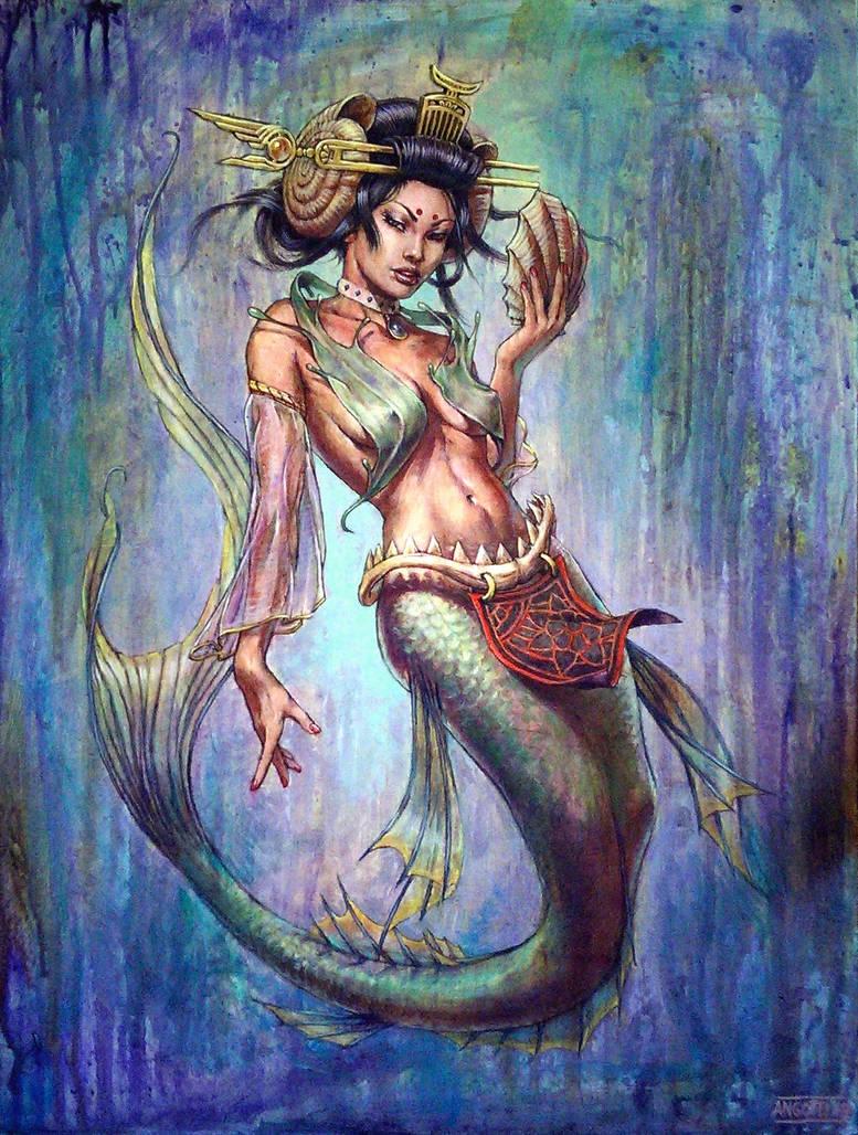 Geisha mermaid painting