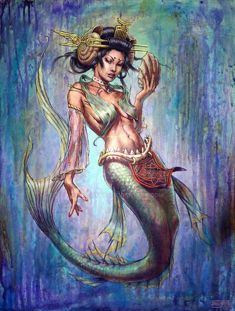 Geisha mermaid painting by angotti81