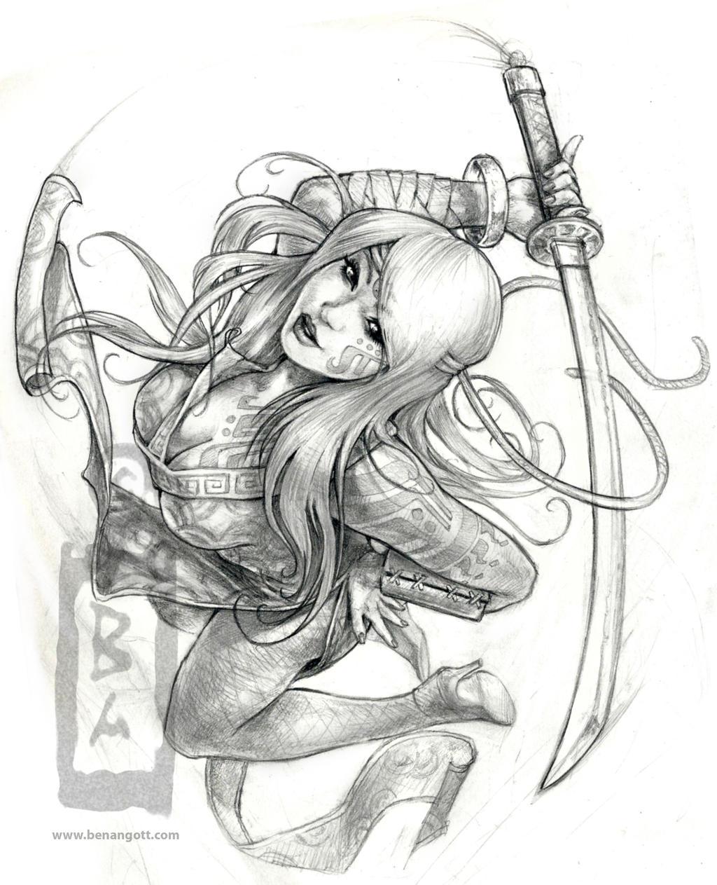 Ninja girl Sketch by angotti81