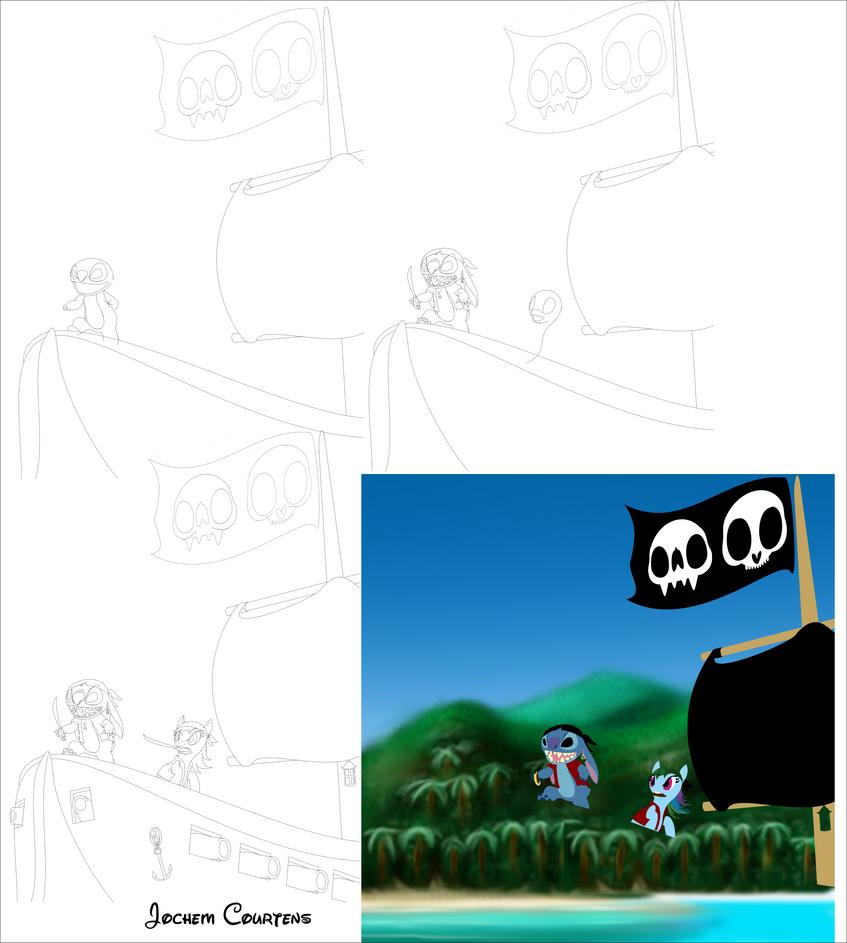 Pirate Stitch and Dash progress by NeoseekerStitch