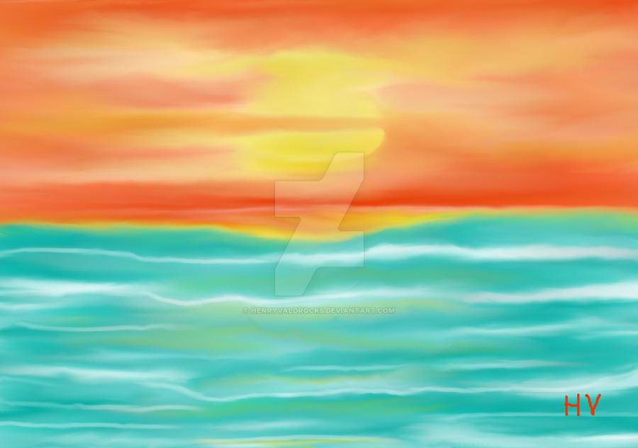SUNSET AT THE BEACH. 2012. by HenryValdROCKS