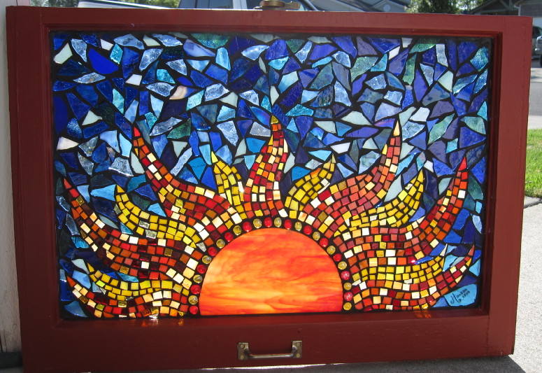Stained Gl Mosaic Red Sun By