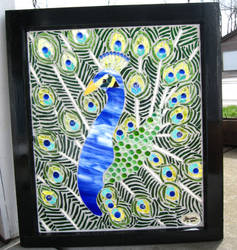 Stained Glass Mosaic Peacock by reflectionsshattered