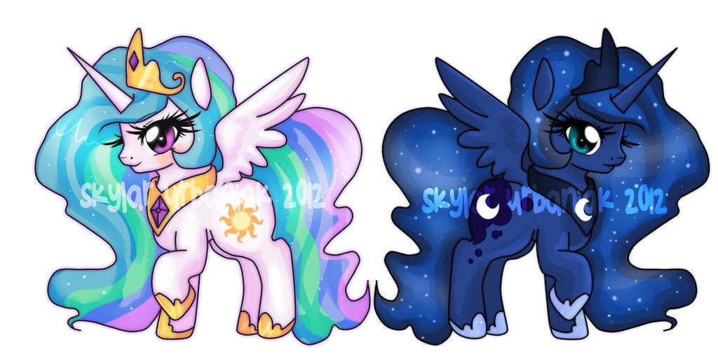 Celestia and Luna Princess Charms by Soul-Soar