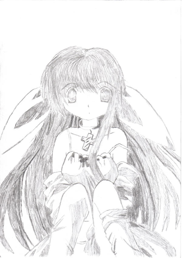 Drawing anime angel by crazysharky666