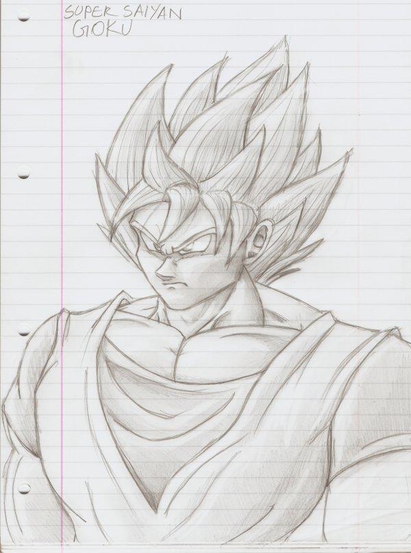 SSJ Goku pencil drawing by PyroDragoness