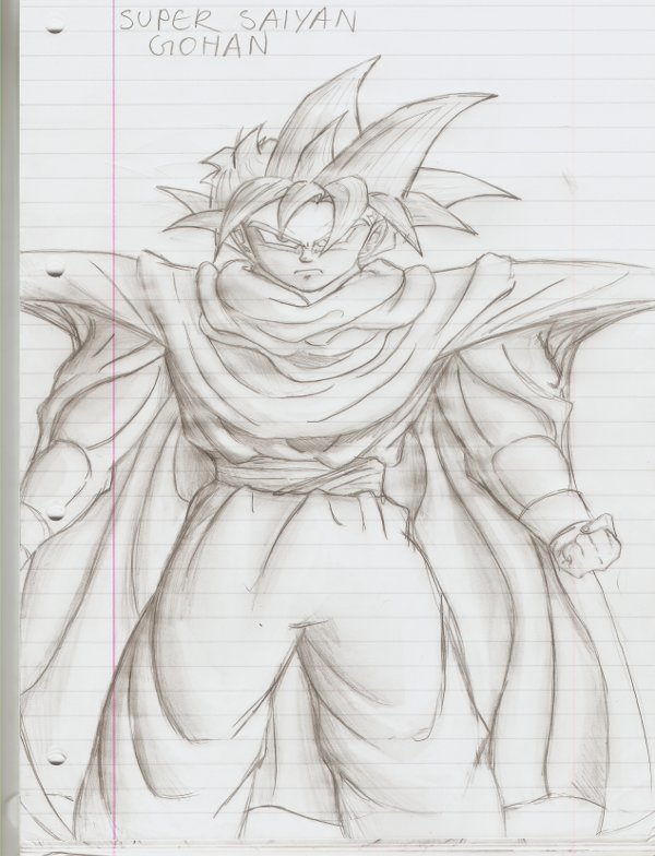 Ssj gohan pencil drawing by pyrodragoness