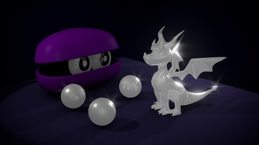 Spyro life statue and pearls by PyroDragoness