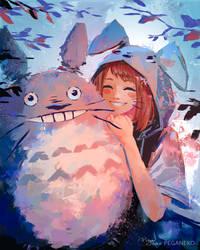 Ochako and Totoro by Pegaite