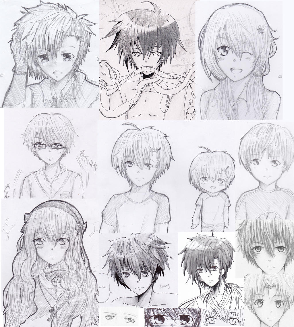 DOODLE COLLAGE 5: More Random Original Characters by TheAwesomeAki-kun