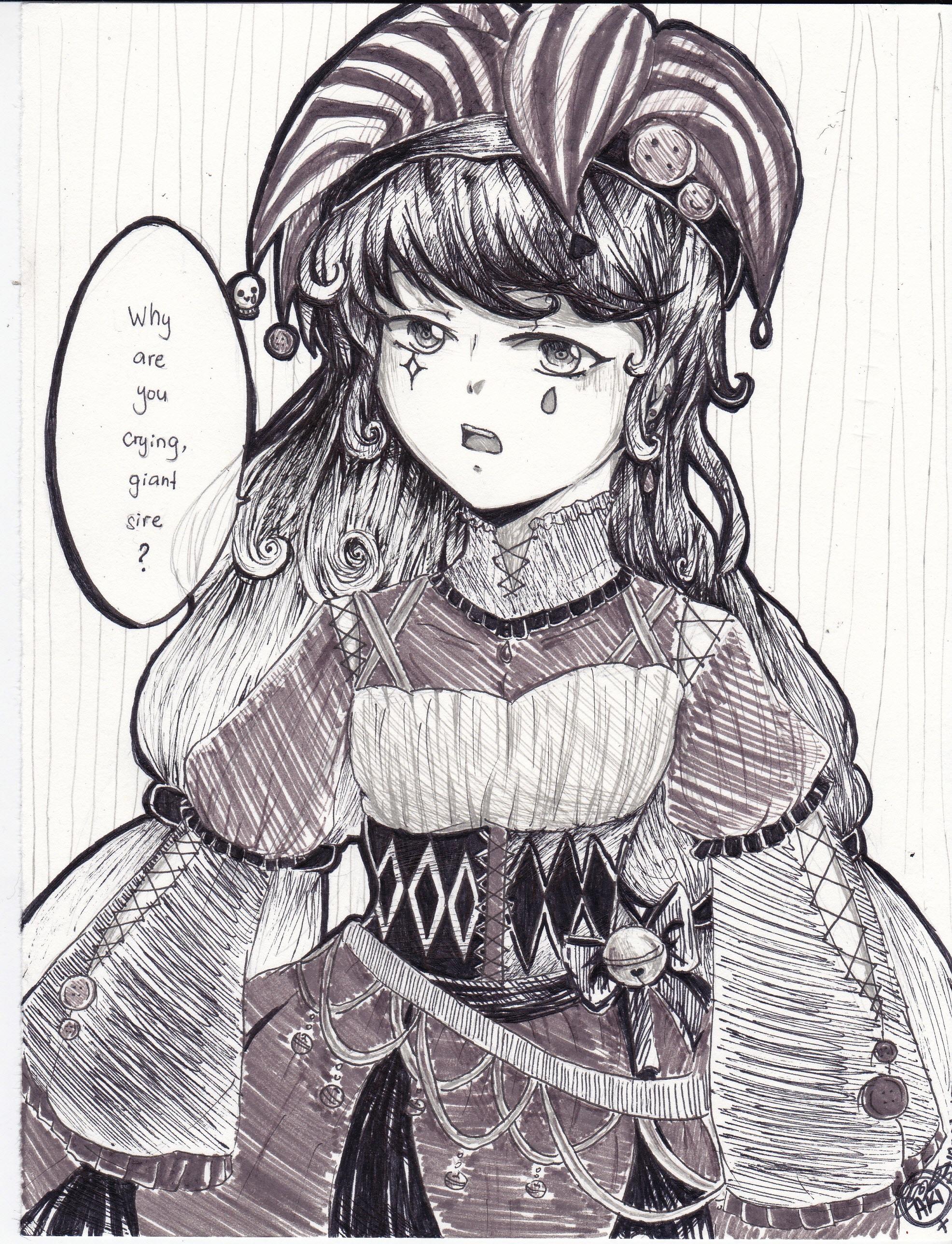 2016 Inktober: Unhappy Pierrot by TheAwesomeAki-kun