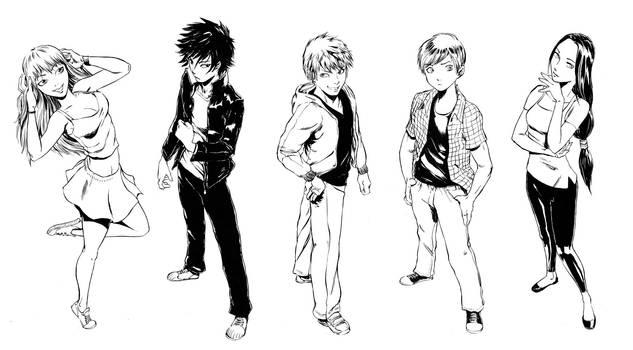 R.u.N. Main Characters B+W