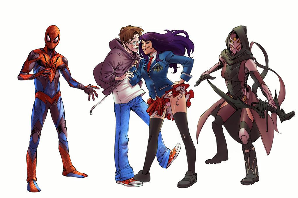 Peter Parker(Spider-Man) and Kate Bishop(Hawkeye) by SilentmanX