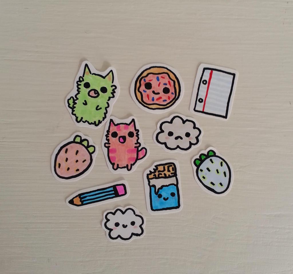 Random 10 tiny hand drawn stickers by peppermint-pop-uk