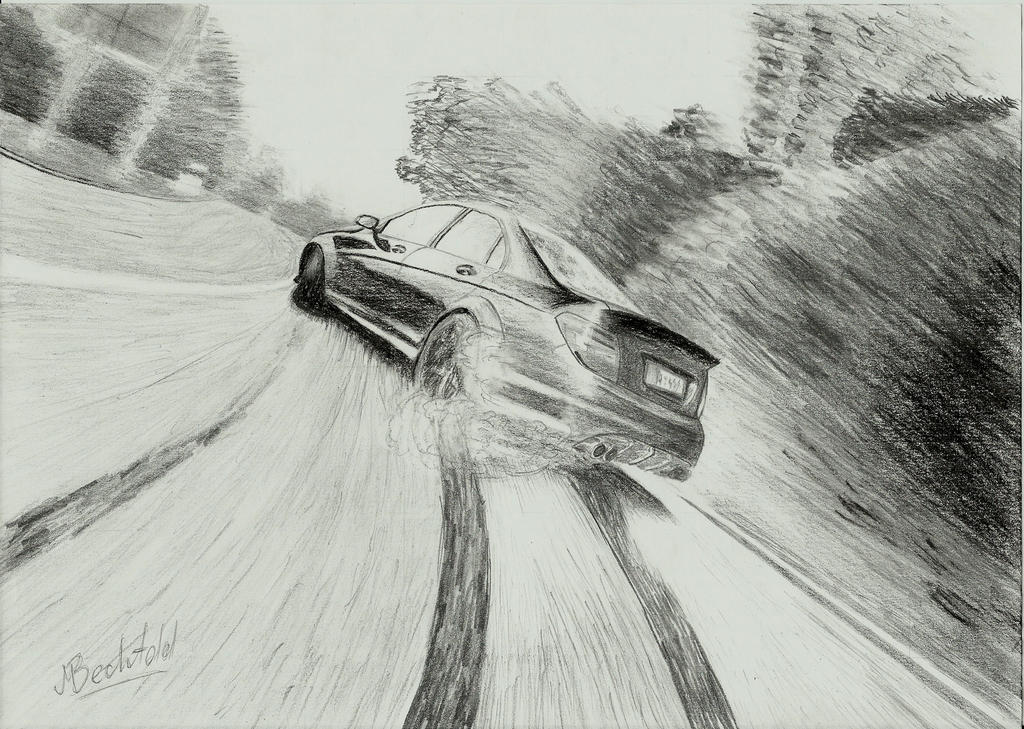 Mercedes C Amg Drift Car Drawing Realistic By Maxbechtold On