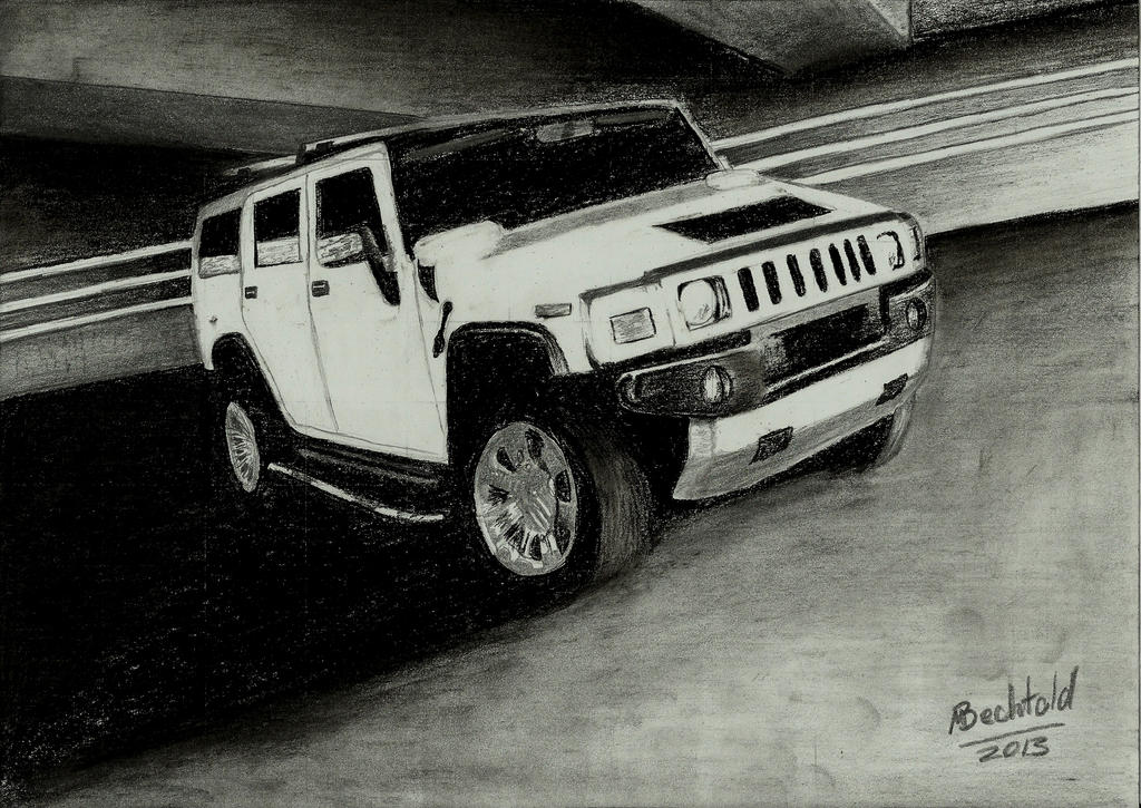 Hummer H2 Car Drawing Realistic By MaxBechtold On DeviantArt