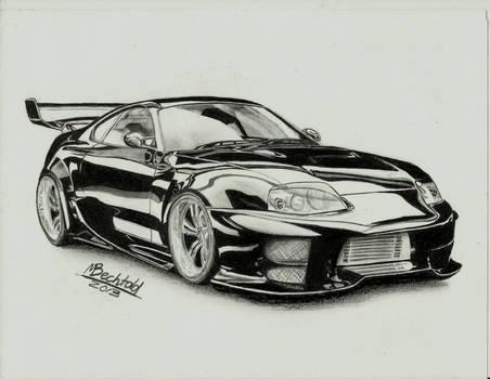 Toyota Supra Tuning Car Drawing Realistic