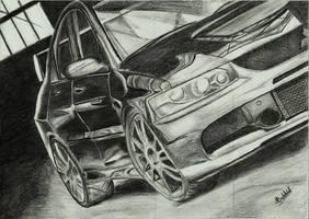 Mitsubishi Lancer Evo IX 9 Car Drawing Realistic