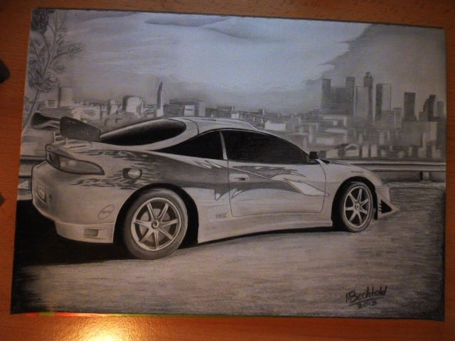 Mitsubishi Eclipse Fast Furious Car Drawing by MaxBechtold on DeviantArt