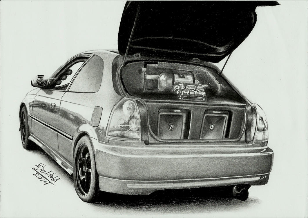 Honda Civic 6 Tuning Realistic Car Drawing by MaxBechtold on DeviantArt