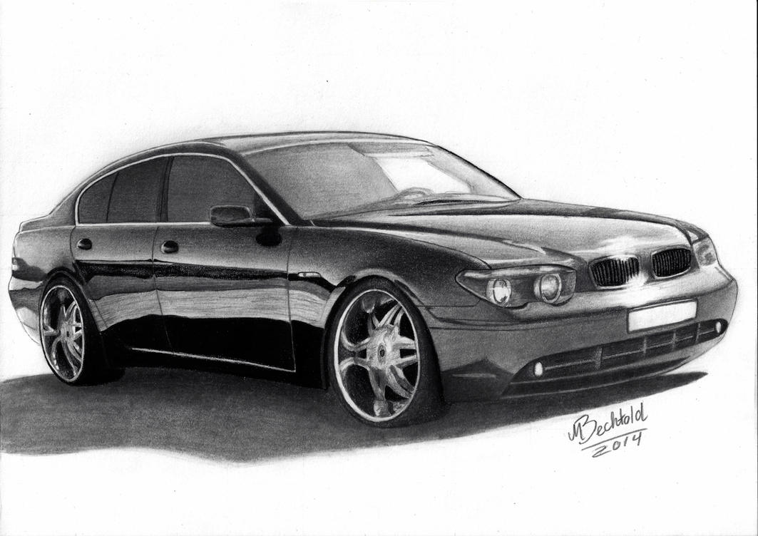 BMW 7 Series E65 Realistic Car Drawing by MaxBechtold