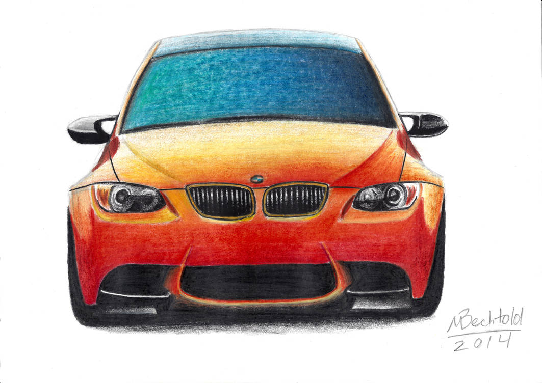 Bmw M3 Gts E92 Realistic Car Drawing Colour Orange By Maxbechtold On