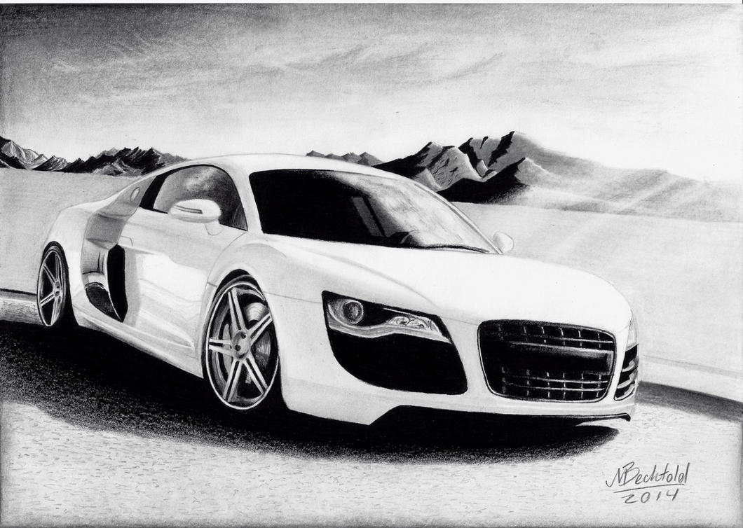 Audi R White Mountains Realistic Car Drawing By MaxBechtold On - Audi car drawing