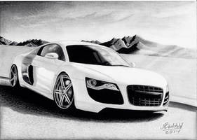 Audi R8 white Mountains Realistic Car Drawing