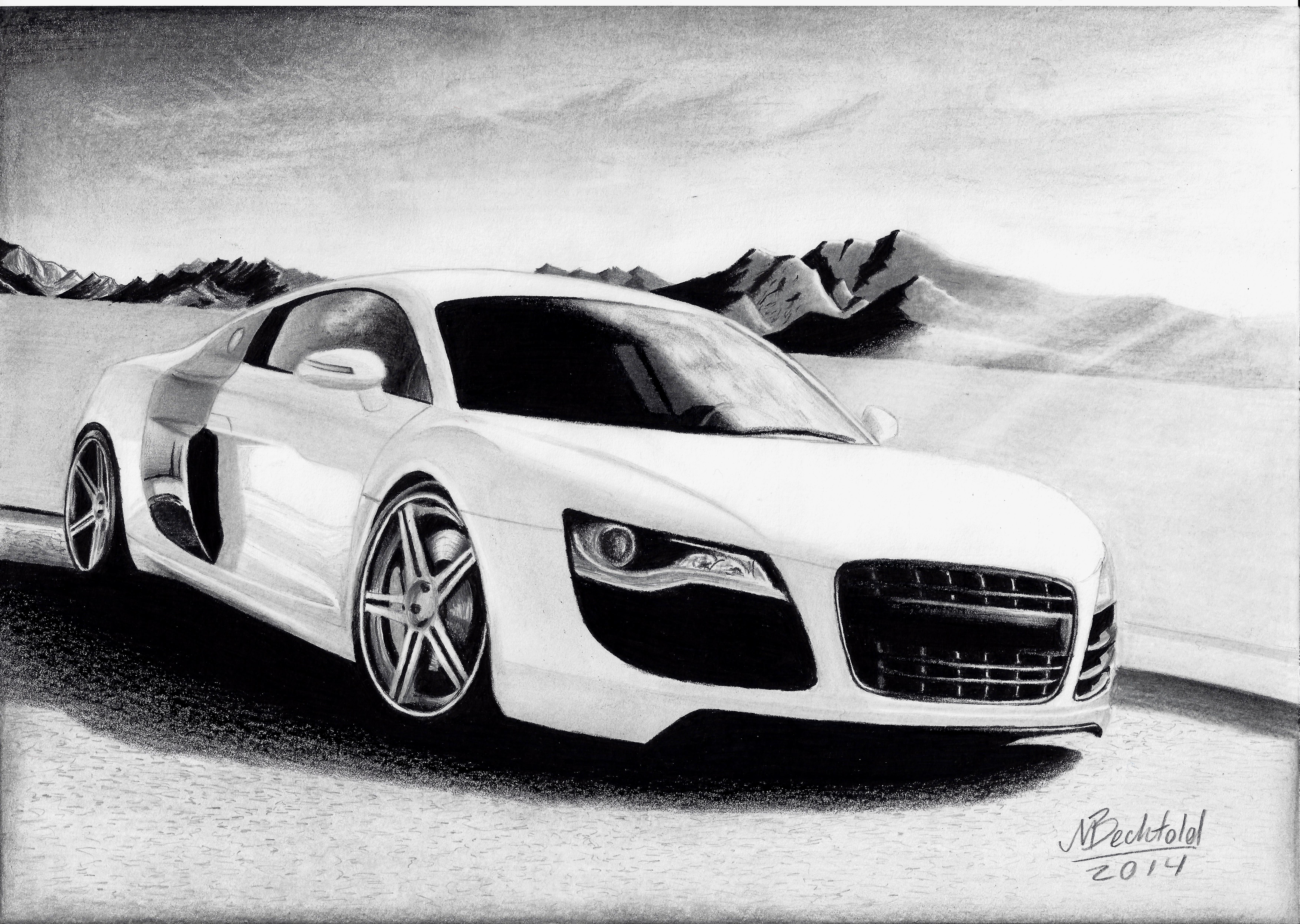 Audi R8 white Mountains Realistic Car Drawing by MaxBechtold on ...