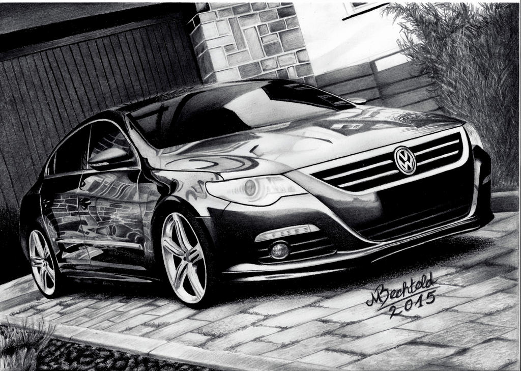 vw passat cc hyper realistic pencil drawing stance by