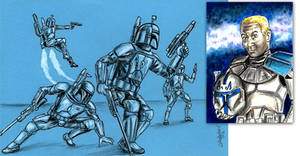Mandalorians (4x6) and Captain Rex (sketch card) by siebo7
