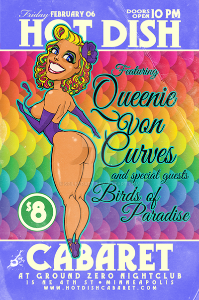 Queenie Von Curves Hot Dish Burleque poster by spilkerart