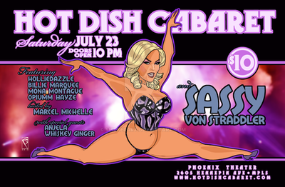 Hot Dish Cabaret July 2016 Poster art by spilkerart