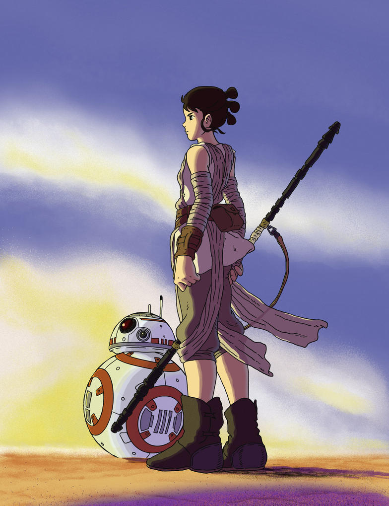 DeviantArt: Rey and BB-8 in Ghibli Style by GeovaneMonteiro