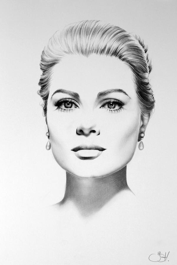 Grace Kelly Minimal Portrait by IleanaHunter