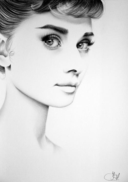 Line Drawing Portrait Tumblr : Audrey by ileanahunter on deviantart