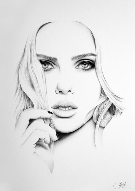 Scarlett Johansson Minimal Portrait by IleanaHunter