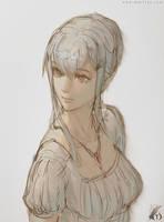 Elf in white dress by Gofelem