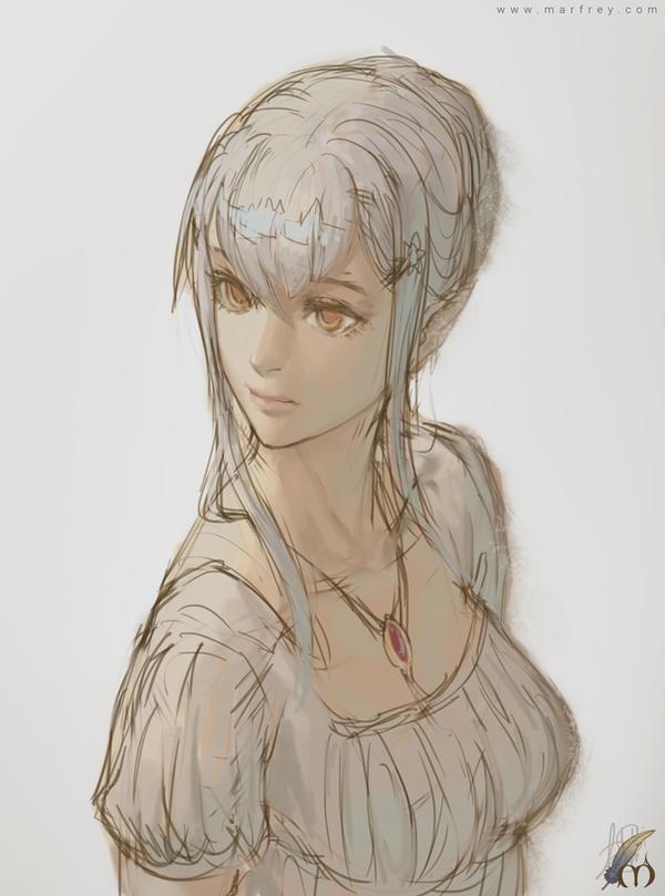 Elf in white dress by Marfrey