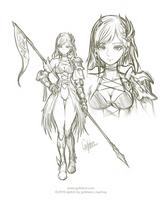 Sketch 001-2019 - Female Warrior by Gofelem
